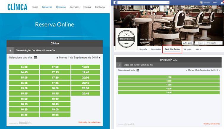 integracion reserva online web facebook